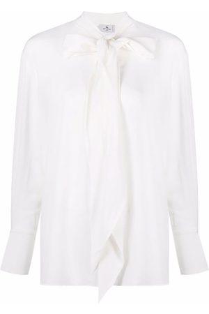 Etro Senhora Blusas - Draped tie-neck silk blouse
