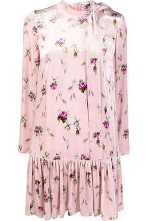 RED Valentino Floral-print pussy-bow minidress