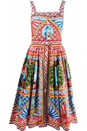 Dolce & Gabbana Carretto-print flared midi dress