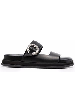 Jimmy Choo Crystal-embellished open-toe slides