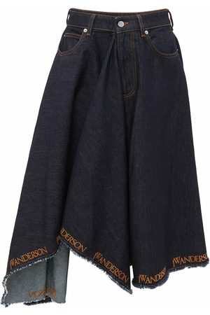 J.W.Anderson Logo-trim asymmetric denim skirt