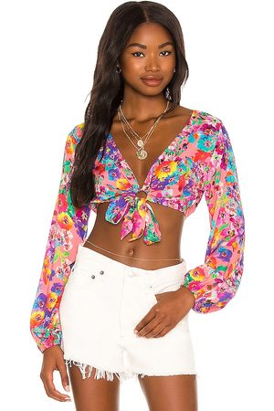 Luli Fama Tie Front Crop Top in - Pink. Size L (also in XS, S, M).