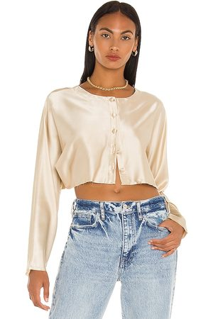 NONchalant Tiffany Cropped Blouse in - Nude. Size L (also in XS, S, M).