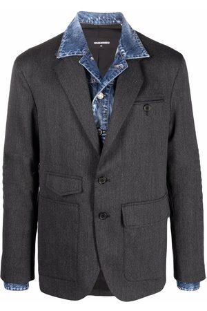 Dsquared2 Homem Blazers - Layered-effect single-breasted blazer