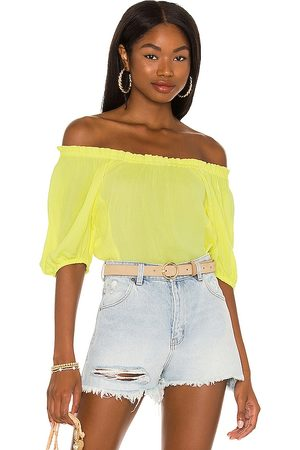 1. STATE Off Shoulder Smock Blouse in - Yellow. Size L (also in XS, S, M).