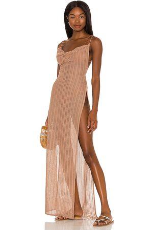 Michael Costello X REVOLVE Shannon Maxi Dress in - Taupe. Size L (also in XXS, XS, S, M, XL).