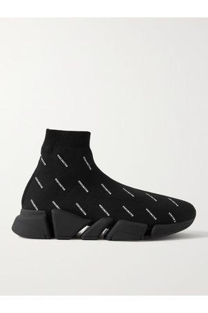 Balenciaga Speed 2.0 Logo-Print Stretch-Knit Slip-On Sneakers
