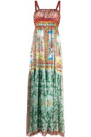 Dolce & Gabbana Senhora Vestidos Casual - Carretto-print long chiffon dress