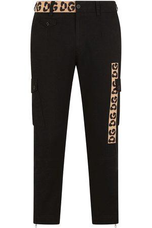 Dolce & Gabbana Homem Calças Justas - Contrast-panel slim-fit trousers