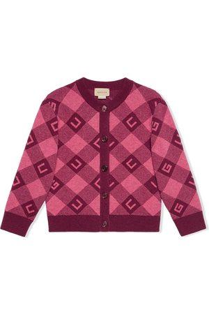 Gucci Intarsia-check logo cardigan