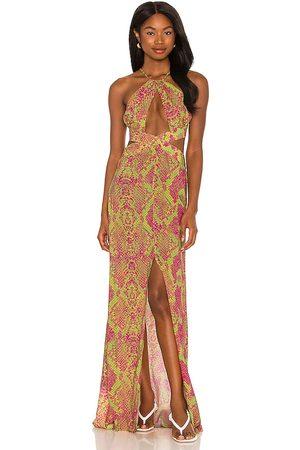 Luli Fama Senhora Vestidos com Decote Halter - Halter Cut Out Dress in - Green,Fuchsia. Size L (also in XS, S, M).