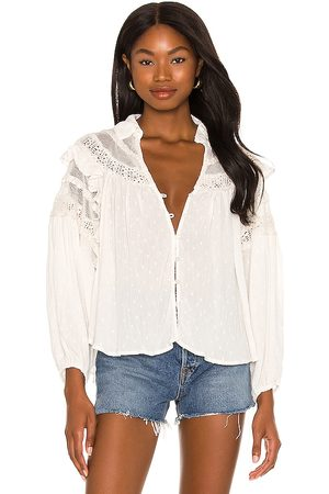 Free People X REVOLVE Veronica Blouse in - White. Size L (also in XS, S).