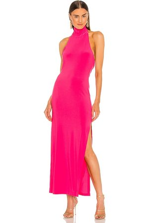Norma Kamali Halter Turtle Gown in - Fuchsia. Size L (also in XS, S, M).