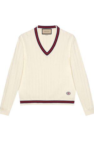 Gucci Web-stripe V-neck knitted jumper