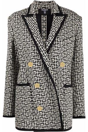 Balmain Senhora Blazers - Monogram jacquard knit blazer