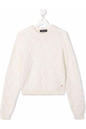 VERSACE Menino Tops de Cavas - Argyle-check pattern jumper