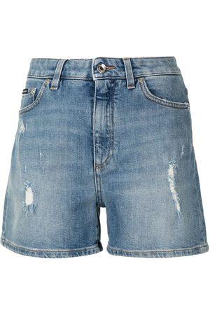 Dolce & Gabbana High-waisted distressed denim shorts