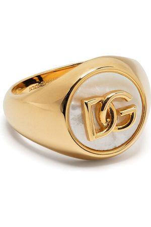 Dolce & Gabbana Homem Anéis - Logo-plaque pearl-detail ring