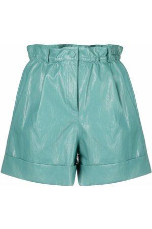Pinko Senhora Calções - High-waisted faux-leather shorts