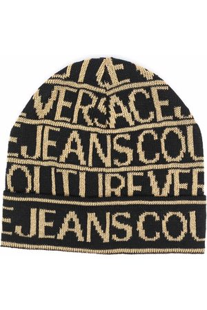 VERSACE All-over logo knit beanie
