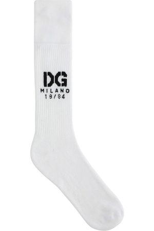 Dolce & Gabbana Homem Meias - Logo-intarsia ribbed socks