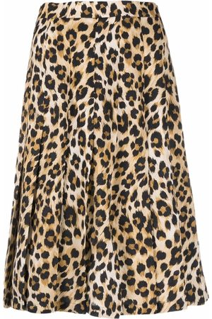 Moschino Senhora Saias Estampadas - Leopard-print pleated skirt