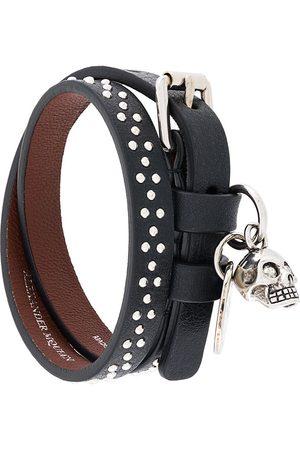 Alexander McQueen Homem Pulseiras - Studded skull charm bracelet