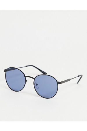 Only & Sons Homem Óculos de Sol - Round sunglasses with blue lens in gunmetal-Grey
