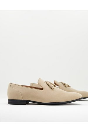 ASOS Loafers in stone faux suede-Neutral