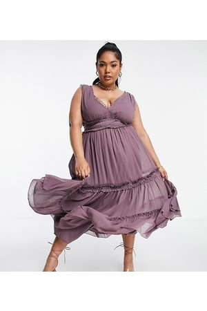ASOS Curve ASOS DESIGN Curve lace insert midi dress with ruffle detail in Dusty Mauve-Purple