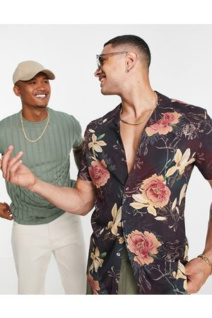 ASOS Ombre floral placement shirt in purple