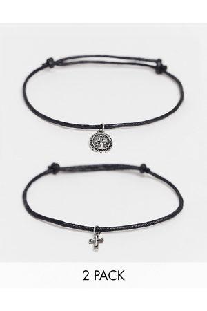 ASOS DESIGN 2 pack skinny cord bracelet with pendants in black