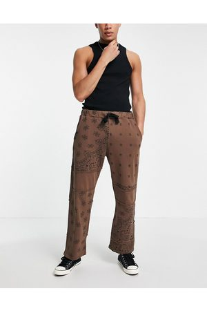 Jaded London Co-ord cut and sew paisley joggers in brown
