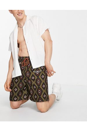 Mennace Shorts co-ord in green all over print-Multi