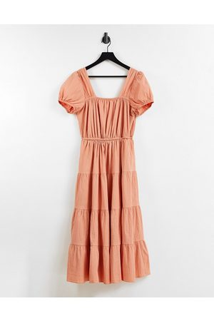 & Other Stories Senhora Vestidos Casual - Other Stories organic cotton tiered smock midi dress with open back in orange