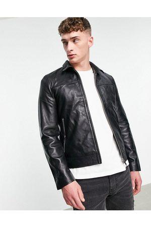 Bolongaro Trevor Slim fit leather jacket-Black