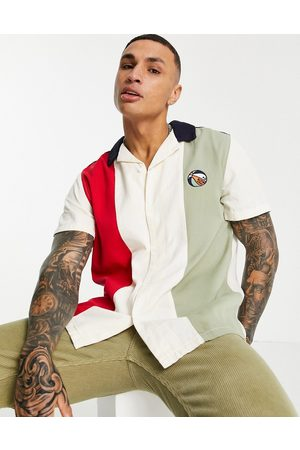 ASOS DESIGN Actual relaxed patchwork shirt with basketball embroidery-Neutral