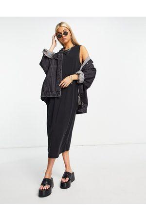 Object Sleeveless midi dress in black