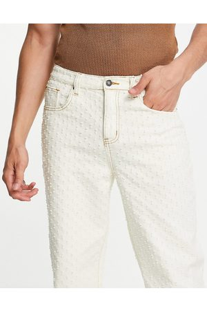 Jaded London Skate jeans with pulled texture in beige-White