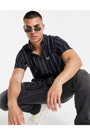 Fred Perry Fine stripe short sleeve shirt in navy