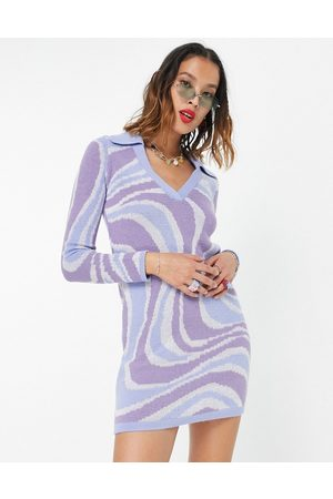 ASOS DESIGN Knitted mini dress with open collar in swirl pattern-Blue