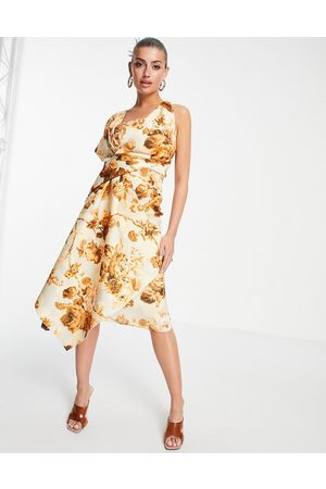 ASOS DESIGN Senhora Vestidos de Festa - Bare shoulder pencil midi dress in floral print-Multi