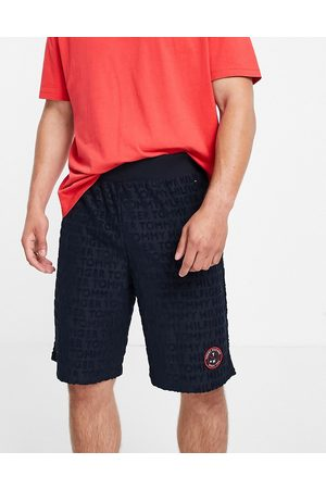 Tommy Hilfiger Homem Conforto - Towelling short with small tennis logo in navy