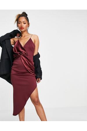 ASOS Cami satin mix twist asymmetric midi dress in wine-Multi