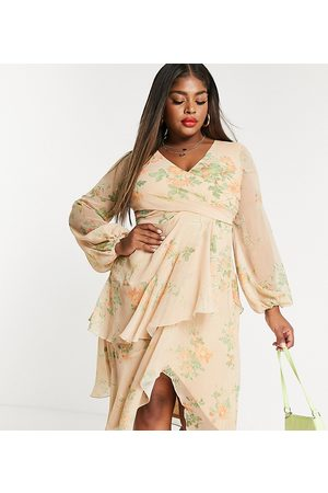 ASOS ASOS DESIGN Curve wrap waist midi dress with double layer skirt and long sleeve in floral print-Multi