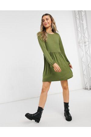 Wednesday's Girl Long sleeve smock dress-Green