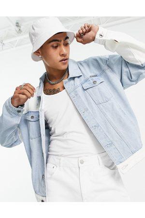 Liquor N Poker Homem Casacos - Oversized denim jacket in light blue and white patchwork