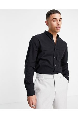 New Look Long sleeve organic cotton oxford shirt in black