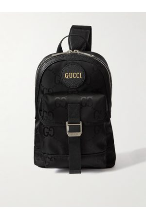 GUCCI Off the Grid Leather-Trimmed Monogrammed ECONYL Canvas Sling Backpack