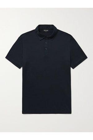GIORGIO ARMANI Slim-Fit Mélange Silk and Cotton-Blend Polo Shirt
